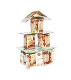 House made of banknotes with nominal five and one thousand ruble Royalty Free Stock Image