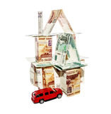 House made of banknotes with a toy car Royalty Free Stock Photography