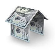 House made of bills. House made of folding US one hundred dollar bills Royalty Free Stock Image
