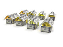 House Made of Cash Money Isolated on White Background. 3d render. House Made of Cash Money Isolated on White Background 3d render Stock Image