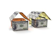 House Made of Cash Money  on White Background. 3d render Royalty Free Stock Images