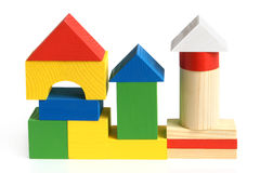 House made from children's wooden building blocks royalty free stock photo