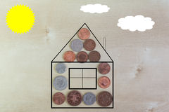 House made from coins Royalty Free Stock Image