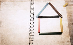 House made of color pencils Royalty Free Stock Photos