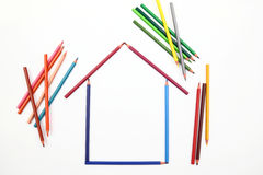 House made of colour pencils Stock Image