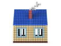 House made by cube blocks. Assembling concept. Home. Real estate. 3D render icon Royalty Free Stock Photos