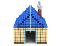 House made by cube blocks. Assembling concept. Home. Real estate. 3D render icon Stock Images