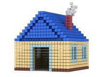 House made by cube blocks. Assembling concept. Home. Real estate. 3D render icon Stock Image
