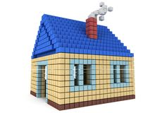 House made by cube blocks. Assembling concept. Home. Real estate. 3D render icon Stock Photography