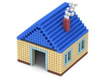 House made by cube blocks. Assembling concept. Home. Real estate. 3D render icon Royalty Free Stock Photo