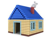 House made by cube blocks. Assembling concept. Home. Real estate. 3D render icon Royalty Free Stock Image