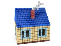 House made by cube blocks. Assembling concept. Home. Real estate. 3D render icon Stock Photo