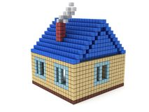 House made by cube blocks. Assembling concept. Home. Real estate. 3D render icon Royalty Free Stock Photography