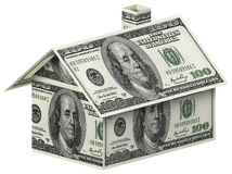 House made of 100 dollar bills. Over white background Stock Images