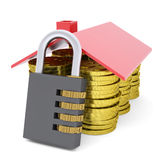 House made of dollars and combination lock. 3d render isolated on white background Royalty Free Stock Photography