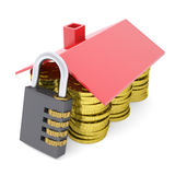 House made of dollars and combination lock. 3d render isolated on white background Royalty Free Stock Photo
