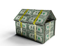 House made of dollars. 3d rendered.  on white background Royalty Free Stock Photo