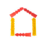 House made of Dowels Isolated on White Background Stock Image