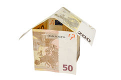 House made from euro bills isolated Stock Photography