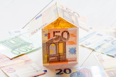 House made of Euro currency. Royalty Free Stock Photos