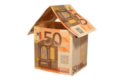 House made of euro money bils Royalty Free Stock Images