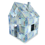 House made of 20 euro notes. House and building made of 20 euro notes Royalty Free Stock Photo