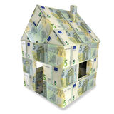 House made of 5 Euro notes. An small money Stock Image