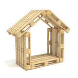House made of Euro pallets. Side view. 3D render Royalty Free Stock Photos
