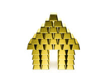 House made of golden bars. On white background Royalty Free Stock Images