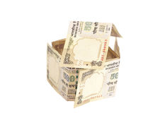 House Made of Indian 500 rupee banknotes. Isolated on white Royalty Free Stock Images