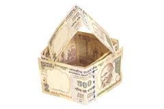House Made of Indian 500 rupee banknotes. Isolated on white Stock Images