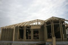 Frame house made of straw. Stock Image
