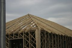 Frame house made of straw. Stock Images
