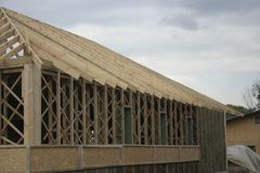 Frame house made of straw. stock photos