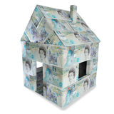 House made made of english 5 pound sterling and small money Stock Image