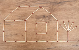 House made from matches. Royalty Free Stock Photos