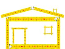 House made of measuring tape. Against white background, abstract vector art illustration Royalty Free Stock Photography