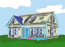 House Made of Money. Home built with one hundred dollar bills against a light blue sky with clouds, green grass and colorful bushes suggesting the investment Stock Photo