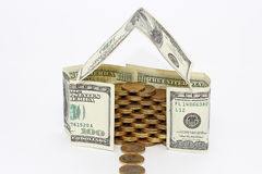 House made of money. House made of dollars isolated Royalty Free Stock Photography