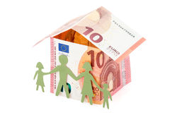 House made of money and the family stock images