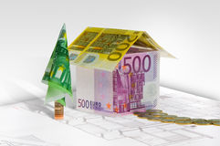 House made of money on plan Royalty Free Stock Images
