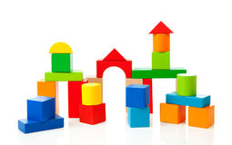 House made out of colorful wooden building blocks Stock Image