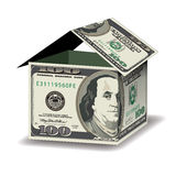 A house made out of 100 dollar bills. With space for your text Royalty Free Stock Photography
