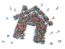House made out of large group of people Royalty Free Stock Photo