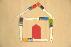 House Made Out of Paintbrushes Stock Photography