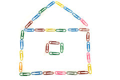 House made with paper clips Royalty Free Stock Photos
