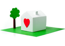 House made of paper with heart Royalty Free Stock Photography