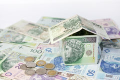 House made of polish money credit and construction Stock Images
