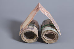 House Made Roll of Indian rupee banknotes. On gray Royalty Free Stock Images