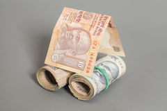 House Made Roll of Indian rupee banknotes Stock Photography